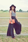 Black-wide-legged-courtesy-of-nude-clothin-pants-navy-zara-top-orange-clutch