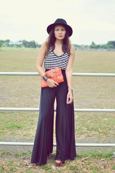 黑色腿礼貌 - 裸体布裤 - 裤子 -  Zara-Top-Orange-Clutch_400