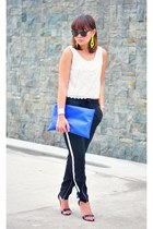 black track romwe pants - blue purse - off white crochet  lace Topshop top