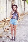 Black-studded-f21-boots-light-blue-denim-streetbeat-boutique-shorts-heather-