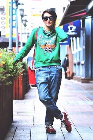 blue boyfriend jeans - red Celine bag - green sweatshirt - brick red sneakers