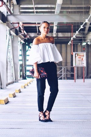 white off shoulder top - black lace up shoes - black tapered pants