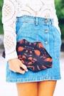 White-lace-top-brick-red-clutch-bag-blue-denim-skirt