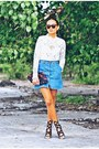 Brick-red-clutch-bag-blue-denim-skirt-black-sophia-webster-heels