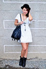 White-thrifted-dress-black-forever-21-boots-black-zara-black-h-m-divided