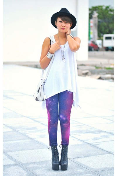 black mary ellen boots - purple cosmic print leggings