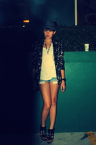 black Mango shoes - blue denim shorts Zara - floral blazer Love Vintage Manila