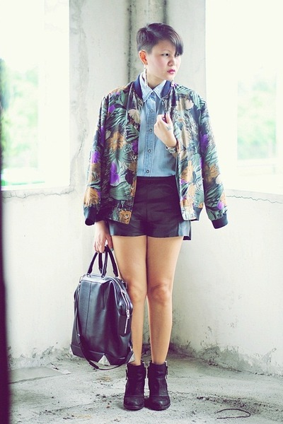 green floral bomber thrifted jacket - black ambush Topshop boots