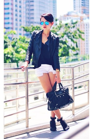 black leather jacket - black giant 12 city balenciaga bag - white denim shorts