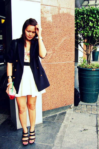 white skirt - black Love Vintage Manila blazer - yellow floral corset Belle York