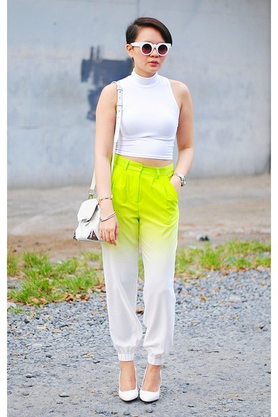 ombre pants - marion Alexander Wang bag - round sunglasses - Mango wedges
