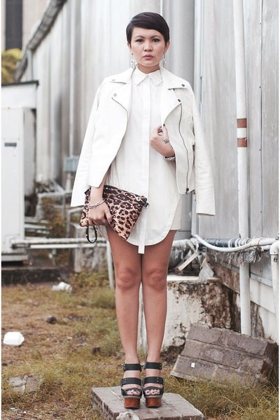 white romwe top - ivory leather jacket - brown leopard print tonic purse