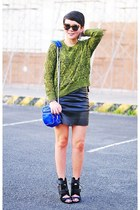 green cable knit romwe sweater - black noemi sandals Alexander Wang boots