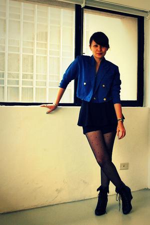blue Love Vintage Manila blazer - black f21 boots - Topshop - white Zara