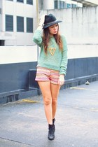 pink K8LA shorts - black Topshop boots - green sweater