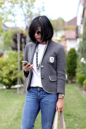 flare J Brand jeans - grey Club Monaco blazer - white Club Monaco shirt - blush
