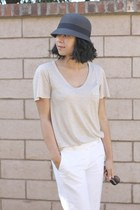 feathered Target hat - Aldo sunglasses - beige Club Monaco t-shirt - white H&M p