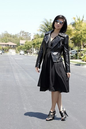 black thrifted vintage dress - leather jacket Bebe jacket - aviator Aldo sunglas
