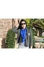 Skinny-j-brand-jeans-grey-club-monaco-blazer-blue-scarf-aldo-sunglasses-