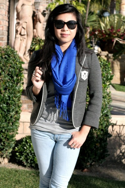 skinny J Brand jeans - grey Club Monaco blazer - blue scarf - Aldo sunglasses -