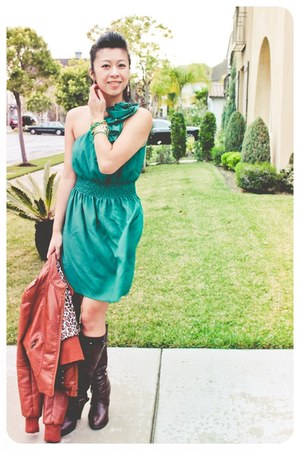 green Forever 21 dress - brown leather boots - brown leather jacket