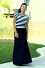 Striped-zara-shirt-denim-skirt-purple-sechelles-wedges