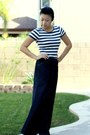 Striped-zara-shirt-denim-skirt-purple-sechelles-wedges
