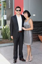 grey Club Monaco dress - blush pink Chinese Laundry heels - black Zara suit