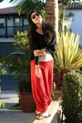 Cropped-toska-sweater-aldo-sunglasses-red-bangkok-pants-flip-flop-old-navy