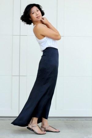 white H&M shirt - silk Club Monaco skirt - clear sandals