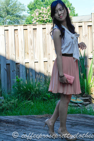 light pink pleated skirt no name skirt - brown Stradivarius belt
