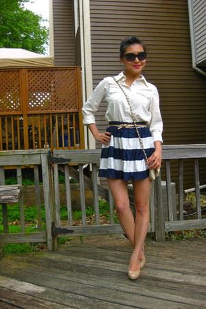 navy striped Forever 21 skirt - off white cross body Bershka bag