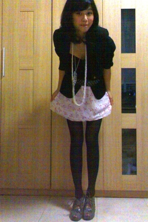 Zara blazer - forever 21 tights - self-made skirt - Closet Queen - self-made acc