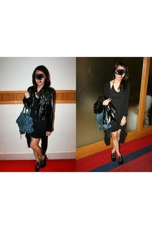 black Studio jacket - black dress - black shoes - blue balenciaga purse