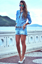 light blue Moikana shorts - light blue Moikana blouse