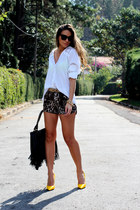 lace Kimika shirt - fringe Wet Seal bag - leopard Forever 21 shorts