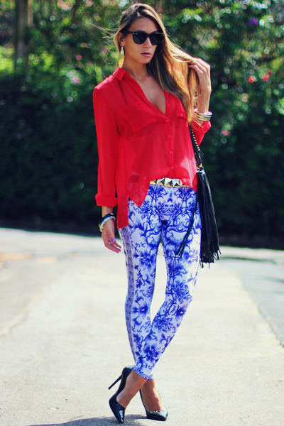 black Schutz shoes - blue printed romwe leggings - red chiffon papaya shirt