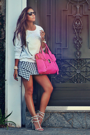 black black and white Choies skirt - hot pink Lina Lie bag