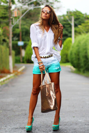 white white Kimika shirt - aquamarine tie dye Macstile shorts