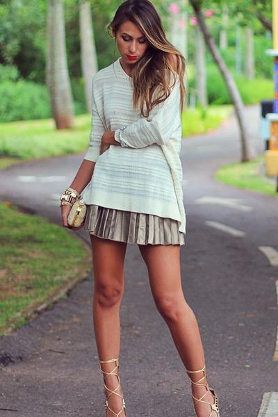 eggshell luigi bertolli sweater - camel metallic c&a skirt