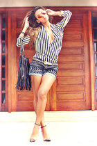 striped Sheinside shirt - navy tribal Loft 747 shorts