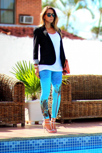 blue printed romwe leggings