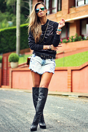 black Schutz boots - light blue Dimy shorts - black Dimy sweatshirt