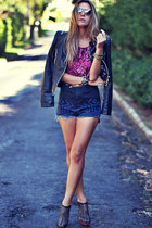 black leather Giseli Dias shoes - navy denim romwe shorts