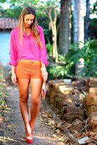 hot pink Wet Seal shirt - orange Forever21 shorts