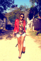spiked Queens Wardrobe jacket - denim asos shorts - floral asos t-shirt