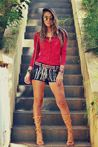 ruby red Chiclet Store cardigan - navy M Store shorts