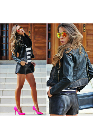 black faux leather Chiclet Store jacket - black faux leather Forever 21 shorts