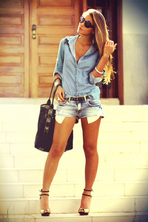 sky blue denim shirt Forever 21 shirt - navy denim shorts damyller shorts