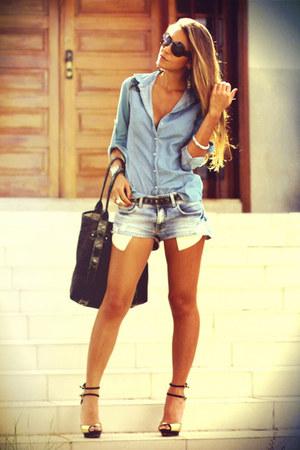 sky blue denim shirt Forever 21 shirt - navy denim shorts damyller shorts
